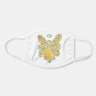 Yellow Gold Guardian Angel Art Custom Face Mask