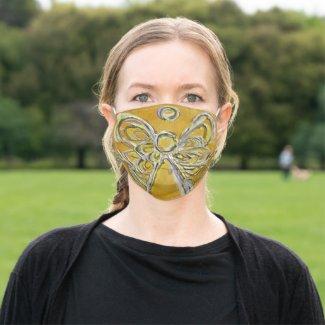 Yellow Gold Guardian Angel Art Custom Face Masks