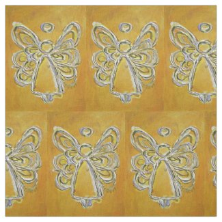 Yellow Gold Guardian Angel Art Fabric Material