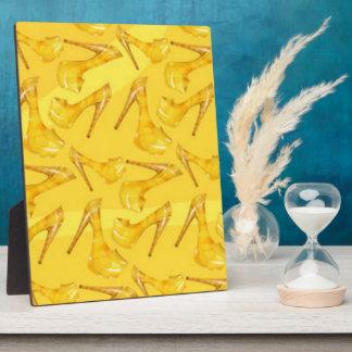 Yellow Gold High Heels Pattern Print Design Plaque