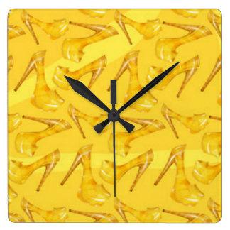 Yellow Gold High Heels Pattern Print Design Square Wall Clock