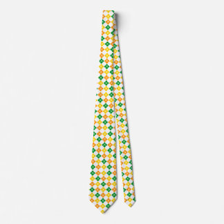 Yellow-Gold Orange and Green Argyle Custom Tie