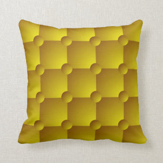 Yellow gold padded quilt pattern throw pillow