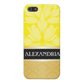 Yellow & Gold Personalized Damask iPhone 4 Case