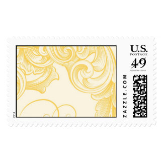 Yellow Gold Plumes and Swirls Postage