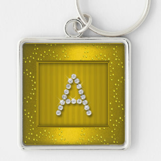 Yellow Gold Shimmer and Sparkle with Monogram Keychain