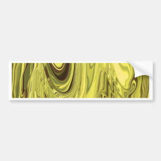 Yellow Gold Shiny Foil Flowing Wave Design Pattern Bumper Sticker