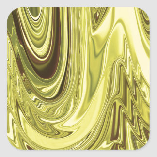 Yellow Gold Shiny Foil Flowing Wave Design Pattern Square Sticker