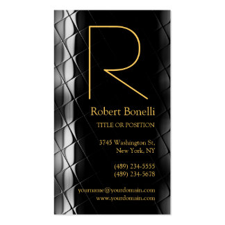 Yellow Gold Silver Grey Monogram Business Card