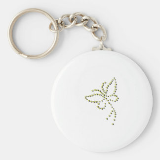 Yellow Gold Sparkle Diamond Butterfly Name Keychain