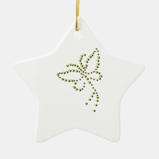 Yellow Gold Sparkle Diamond Butterfly Name Christmas Ornaments