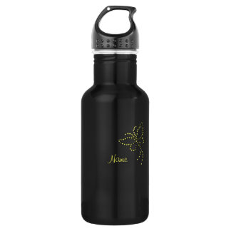 Yellow Gold Sparkle Diamond Butterfly Name 18oz Water Bottle