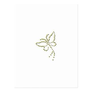 Yellow Gold Sparkle Diamond Butterfly Name Postcard