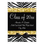 Yellow Gold Sparkle Zebra Bow Graduation Invite