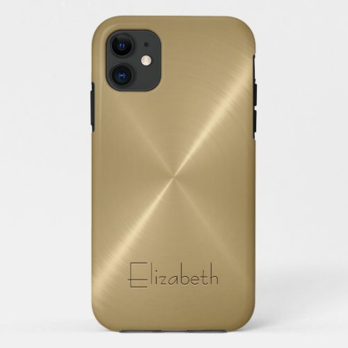 Yellow Gold Stainless Steel Metal Look Phone Case