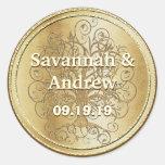 Yellow Gold Swirl Tree Gold Wedding Seal Classic Round Sticker