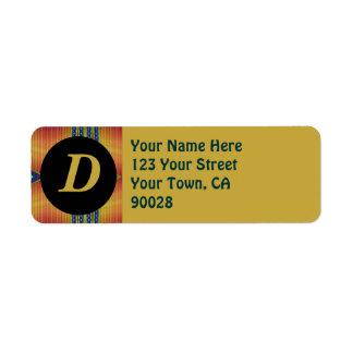 yellow gold teal return address label