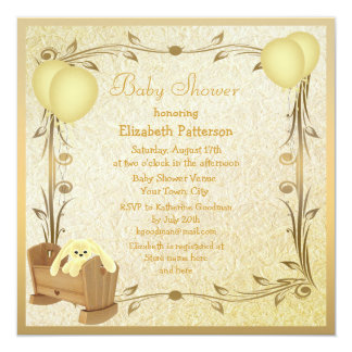 Yellow & Gold Vintage Baby Shower Crib & Bunny 5.25x5.25 Square Paper Invitation Card