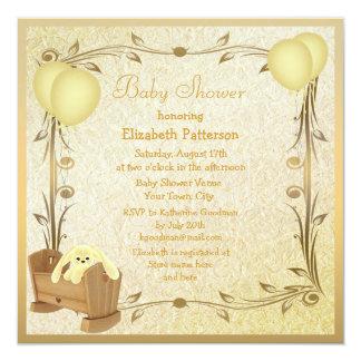 Yellow & Gold Vintage Baby Shower Crib & Bunny Custom Invitation