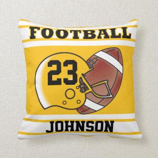 Yellow Gold & White Football   DIY Name & Number Throw Pillow