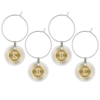 Yellow Gold & White Lace Frame Monogram Wine Glass Charm