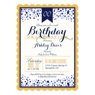 Yellow Gold, White, Navy Blue Birthday Party Card