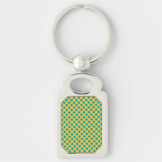 Yellow Gold With Emerald Green Polka Dots Silver-Colored Rectangular Metal Keychain