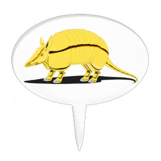 Yellow/Golden Armadillo with Black Stripe on Side Cake Topper