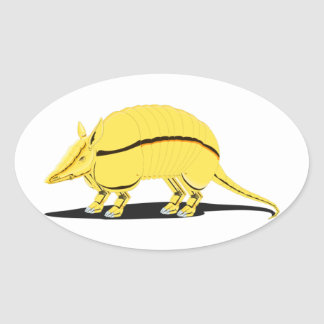 Yellow/Golden Armadillo with Black Stripe on Side Oval Sticker