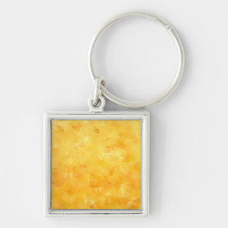 Yellow Golden Beryl Facet Silver-Colored Square Keychain