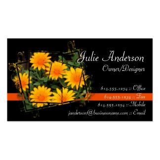Yellow/Golden Flowers Design Business Cards