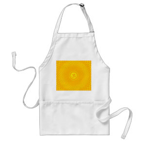 Yellow Golden Sun Lotus flower meditation wheel OM Adult Apron