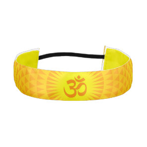Yellow Golden Sun Lotus flower meditation wheel OM Athletic Headband