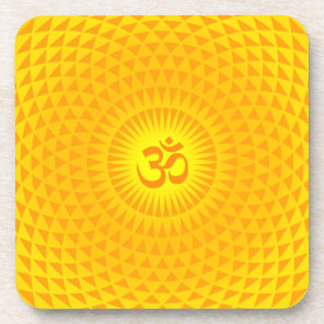 Yellow Golden Sun Lotus flower meditation wheel OM Beverage Coaster