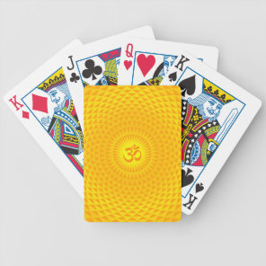 Yellow Golden Sun Lotus flower meditation wheel OM Bicycle Playing Cards