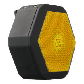 Yellow Golden Sun Lotus flower meditation wheel OM Black Bluetooth Speaker