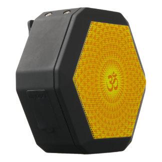 Yellow Golden Sun Lotus flower meditation wheel OM Black Bluetooth Speaker