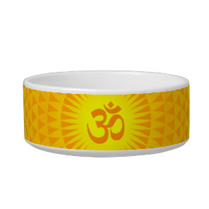 Yellow Golden Sun Lotus flower meditation wheel OM Bowl