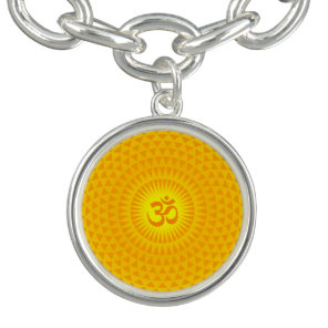 Yellow Golden Sun Lotus flower meditation wheel OM Bracelets