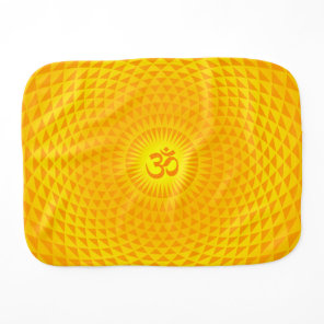 Yellow Golden Sun Lotus flower meditation wheel OM Burp Cloth