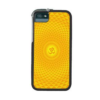 Yellow Golden Sun Lotus flower meditation wheel OM iPhone 5 Cases