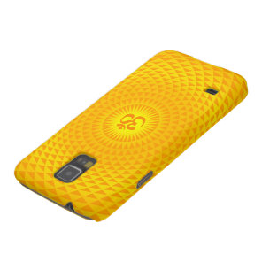 Yellow Golden Sun Lotus flower meditation wheel OM Case For Galaxy S5