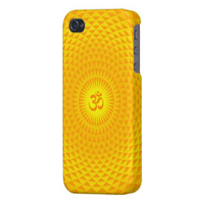 Yellow Golden Sun Lotus flower meditation wheel OM Case For iPhone 4