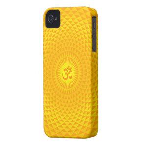 Yellow Golden Sun Lotus flower meditation wheel OM Case-Mate iPhone 4 Case