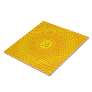 Yellow Golden Sun Lotus flower meditation wheel OM Ceramic Tile