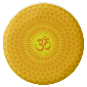 Yellow Golden Sun Lotus flower meditation wheel OM Chocolate Covered Oreo