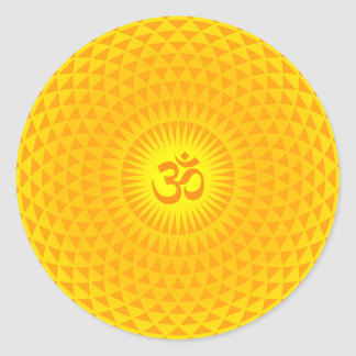 Yellow Golden Sun Lotus flower meditation wheel OM Classic Round Sticker