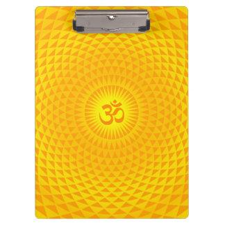 Yellow Golden Sun Lotus flower meditation wheel OM Clipboard