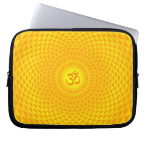 Yellow Golden Sun Lotus flower meditation wheel OM Computer Sleeve