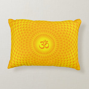 Yellow Golden Sun Lotus flower meditation wheel OM Decorative Pillow